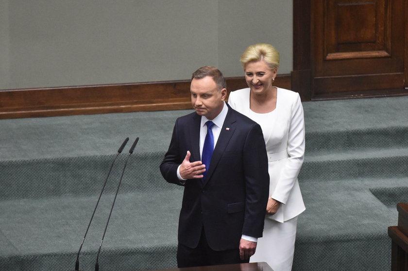 Para prezydencka podczas inauguracji drugiej kadencji Andrzeja Dudy