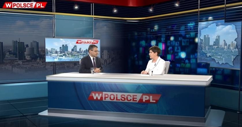 Pierwszym gościem wPolsce była Beata Szydło. Rozmowę równolegle pokazywało TVP Info
