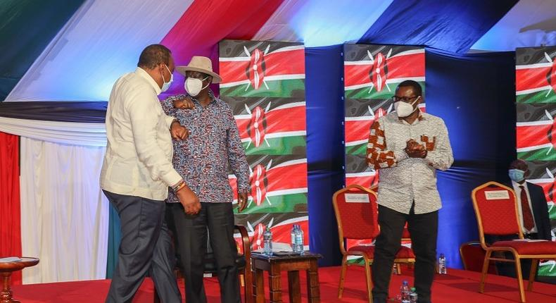 President Uhuru Kenyatta, former Prime Minister Raila Odinga and Senate Speaker Ken Lusaka during the BBI signature launch