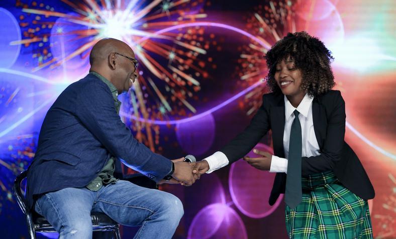 Safaricom CEO Bob Collymore meets Moesha Kibibi , dancer and founder of Divas Power Initiative.