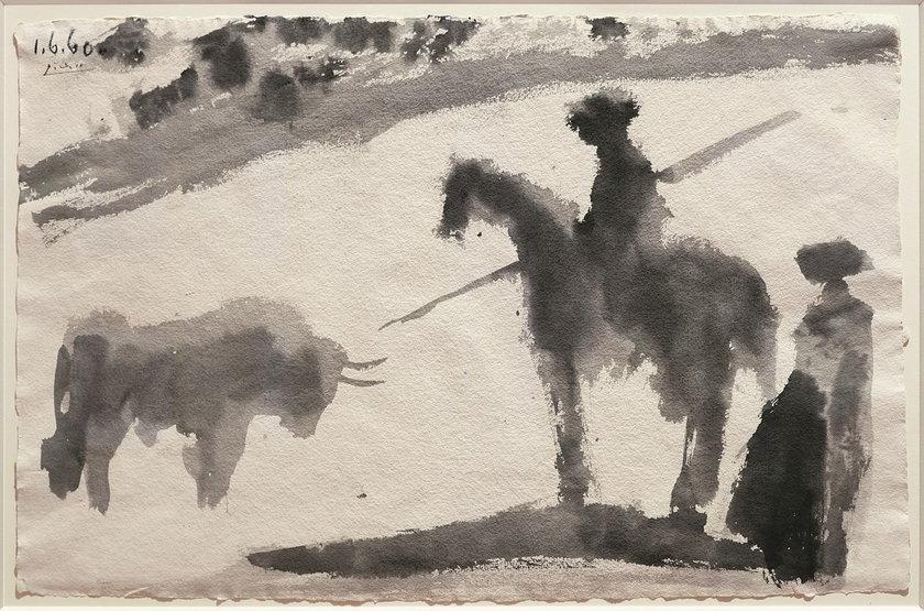 Pablo Picasso, Avant la Pique, 01.06.1960, tusz na papierze, prywatna kolekcja Serge Tiroche, Lugano © Succession Picasso 2014