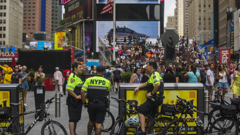 A Dirt Bike Pops, and 'Run, Hide, Fight' Comes to Times Square