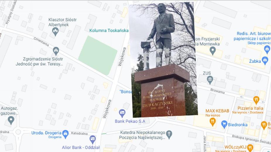 Zdewastowany pomnik Lecha Kaczyńskiego w Siedlcach
