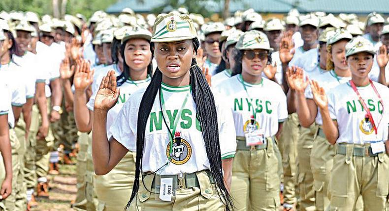 NYSC Corps members on parade ground. (Guardian)