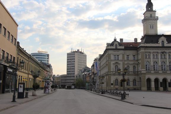 Prazna ulica u Novom Sadu