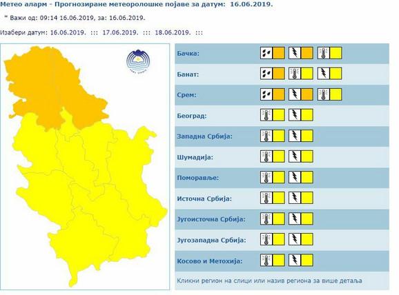 Meteoalarm za Srbiju
