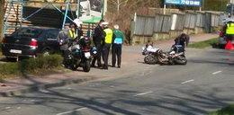 Wypadek policjanta na motocyklu