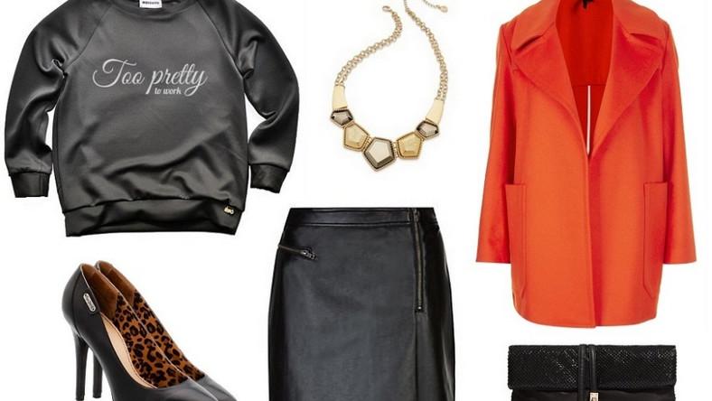 """Bazą naszych stylizacji są czarne bluzy marki Mosquito z zabawnymi nadrukami. Bluzę """"Too pretty to work"""" zestawiłyśmy ze skórzaną spódnicą, eleganckimi czółenkami, kopertówką, oraz dużym naszyjnikiem. Postawiłyśmy też na mocny akcent w postaci oversize'owego płaszcza w kolorze soczystej pomarańczy i tym samym otrzymałyśmy idealny look na wieczorne wyjście!"""