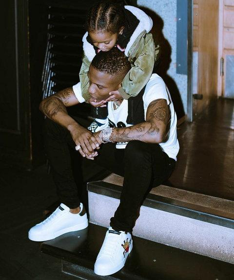 Wizkid and one of his sons, Zion. [Instagram/WizkidAyo]