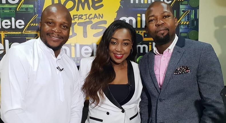 Alex Mwakideu with Jalango and Betty Kyallo