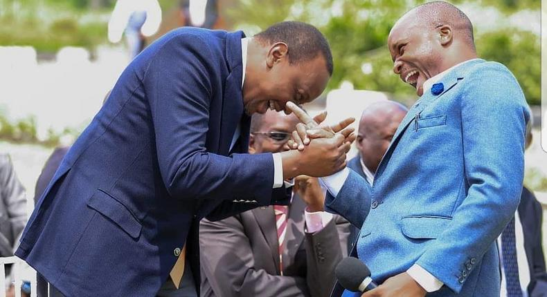 President Uhuru Kenyatta with Jalang'o at a past event. Milele FM's Jalang'o discloses the weirdest thing a fan has ever done to him