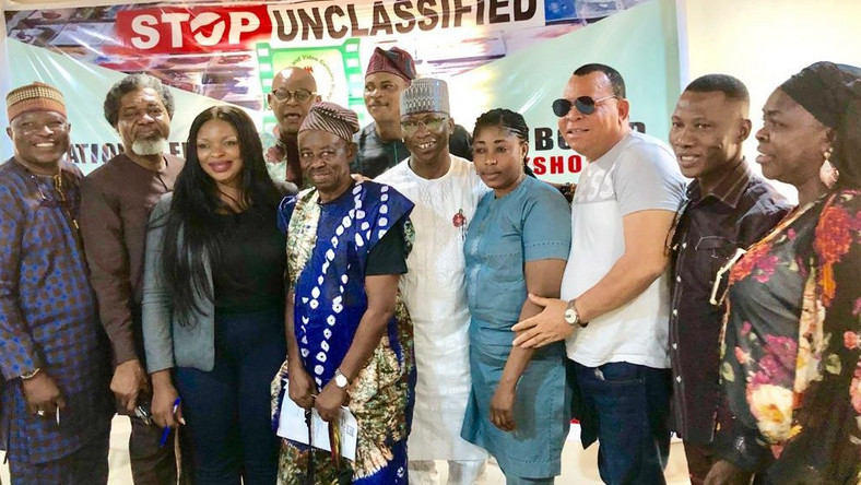 Nollywood stars with NFVCB boss, Adedayo Thomas at the workshop