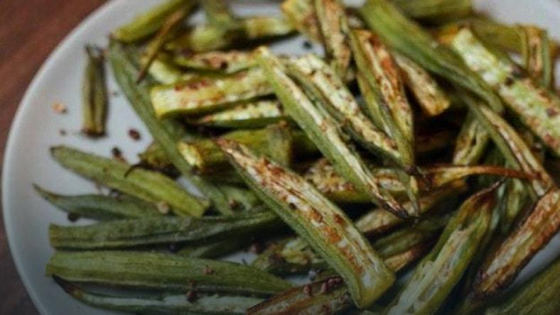 Oven roasted okra ( Photo credit - Eating birds foods)