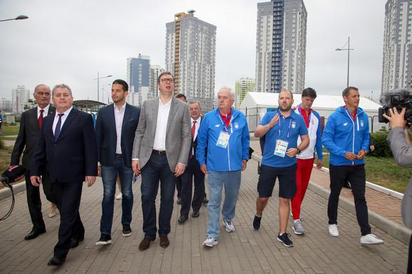 Aleksandar Vučić u poseti našim sportistima na Evropskim igrama u Minsku