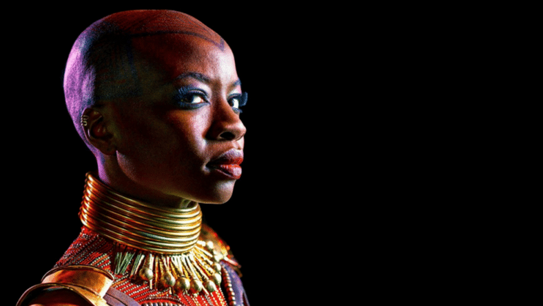 "Danai Guira as General Okoye from the blockbuster, ""Black Panther"" makes bald attractive. (ComicBookMovie)"