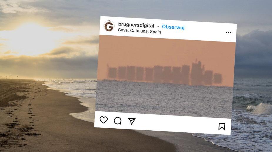 """Z plaży Gava w Hiszpanii było widoczne """"pływające miasto"""""""