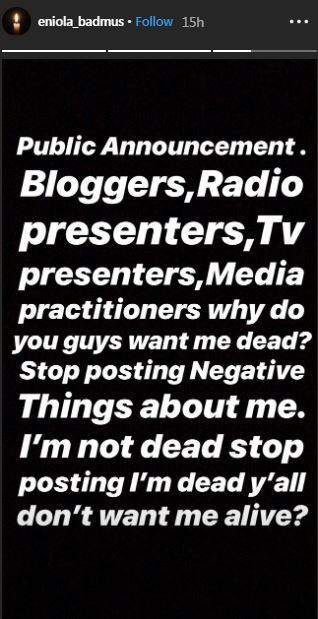 She went on to appeal to bloggers and media personalities to stop writing negative things about her [Instagram/EniolaBadmus]