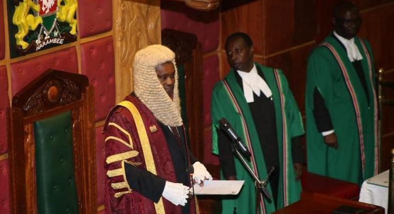 Speaker Justin Muturi during a Parliament session (Twitter)