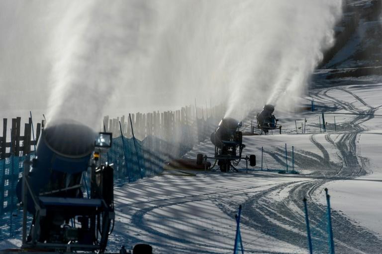 Snow cannons spray artifical snow on a ski slope at El Colorado skiing center near Santiago