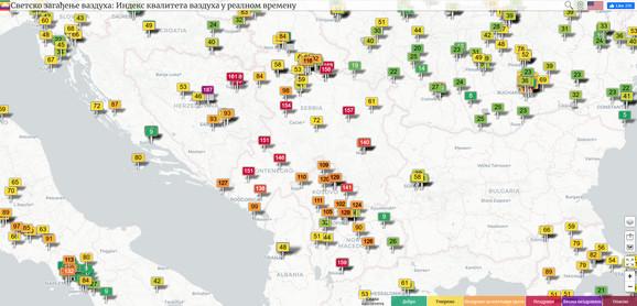 Zagađen vazduh u Srbiji i nekoliko zemlja Balkana
