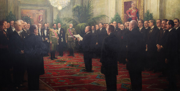 Proglašenje Kraljevine SHS, Ivan Tisov, ulje na platnu 1926 godina