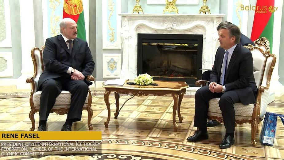 Aleksandr Łukaszenka i Rene Fasel