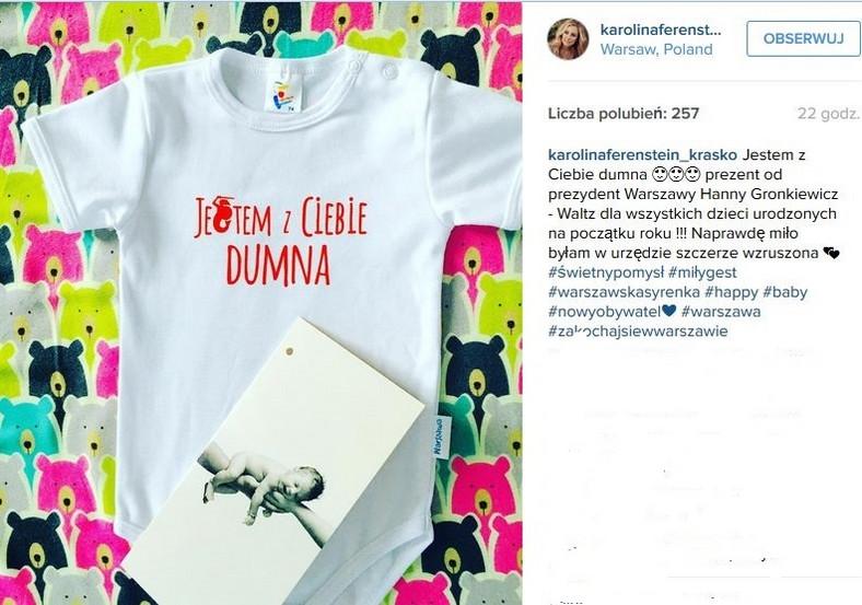 prezent dla nowonarodzonych mieszkańców Warszawy / zdjęcie z profilu Karoliny Ferenstein-Kraśko