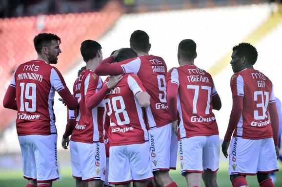 Fudbaleri Crvene zvezde slave pogodak protiv Mladosti