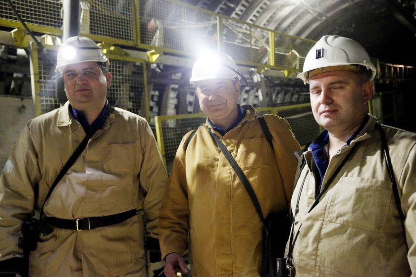 Od lewej: Tomasz Rogala, prezes PGG, Grzegorz Tobiszowski, wiceminister energii, Michał Piecha, dyrektor KWK Ruda