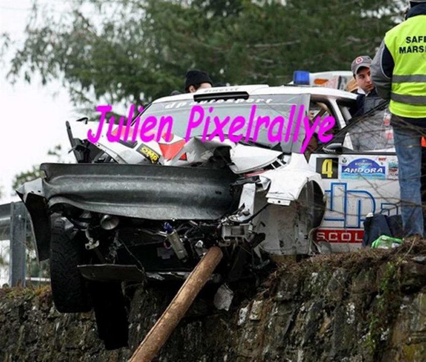 Bariera przebiła auto Kubicy