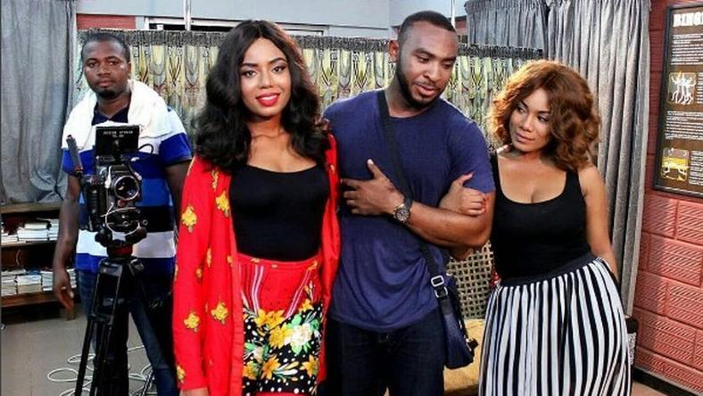 "Nancy Isime, Enyinna Nwigwe, Zynnell Zuh on set of ""Hire a Man"""