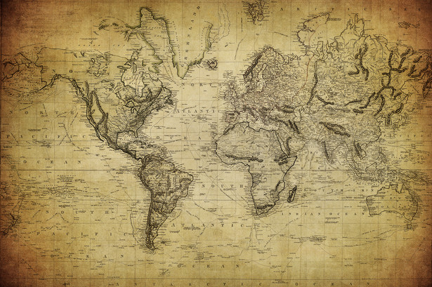 Mapa świata z 1814 roku