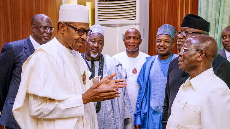 In the photo: The Minister of State for Petroleum Resources, Mr Timipre Sylva, governor Atiku Bagudu of Kebbi state, Mohammed Badaru of Jigawa state, Bayelsa governor-elect, David Lyon, President Muhammadu Buhari, APC National Chairman, Adams Oshiomhole and Governor Kayode Fayemi of Ekiti state. [Twitter/@BashirAhmaad]
