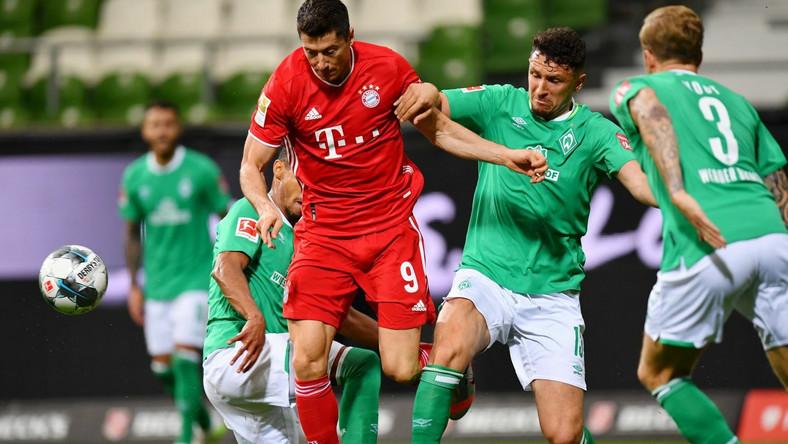 Robert Lewandowski w meczu z Werderem