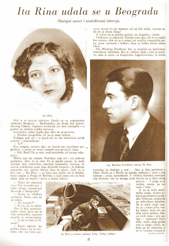 """Sečak iz časopisa """"Cinema revija"""", Zagreb, 1931. godina, gde je objavljena i fotografija njenog supruga Miodraga Đorđevića"""