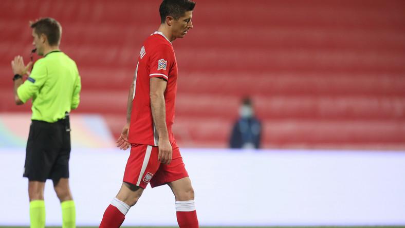 Piłkarz reprezentacji Polski Robert Lewandowski podczas meczu grupy A1 Ligi Narodów z Włochami