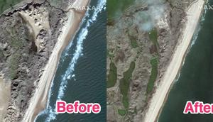 Before-and-after satellite images showing the destruction of sand dunes after Donald Trump's Aberdeenshire golf course was built on them.