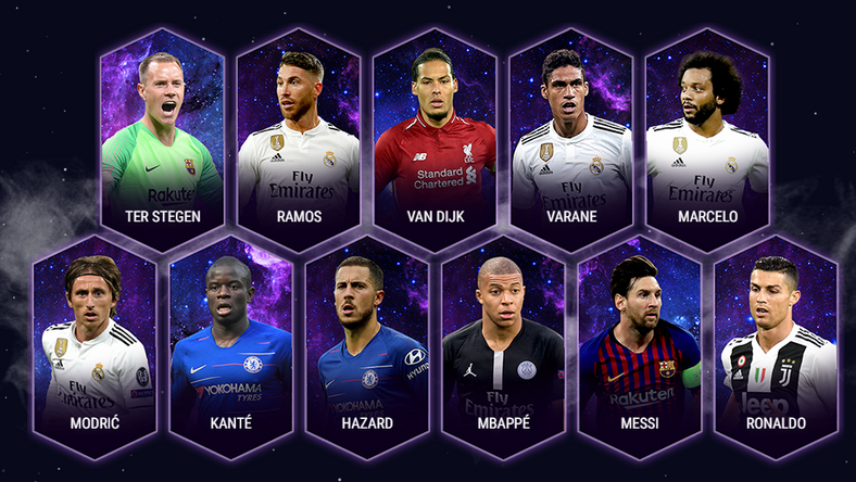 Here are the  players selected in the 2018 UEFA Team of the Year