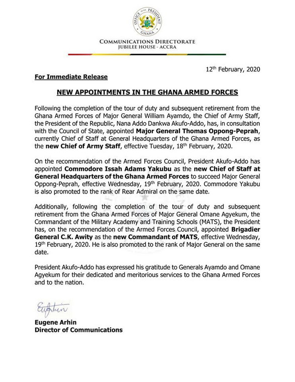 Chief of Army Staff appointment