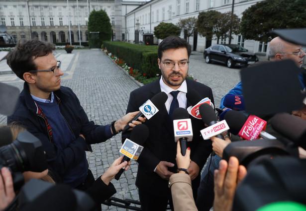 Wicemarszałek Sejmu z ramienia Kukiz'15 Stanisław Tyszka po spotkaniu w Pałacu Prezydenckim