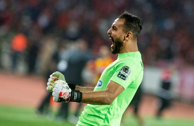 Esperance's goalkeeper Moez Ben Cherifia celebrates a goal during the CAF Champions League final between Morocco's Wydad Athletic Club and Tunisia's Esperance Sportive de Tunis