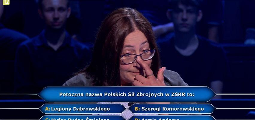 """""""Milionerzy"""" Dorota odpadła na pierwszym pytaniu o potoczną nazwę Polskich Sił Zbrojnych w ZSRR!"""