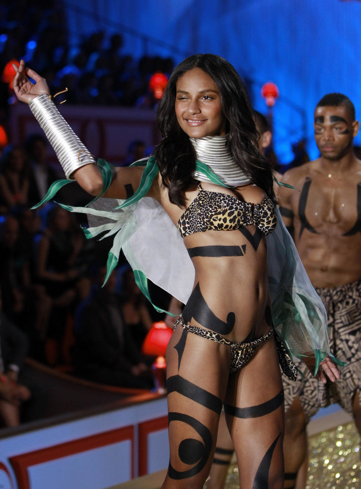 Model Emanuela De Paula presents a creation during the Victoria's Secret Fashion Show in New York