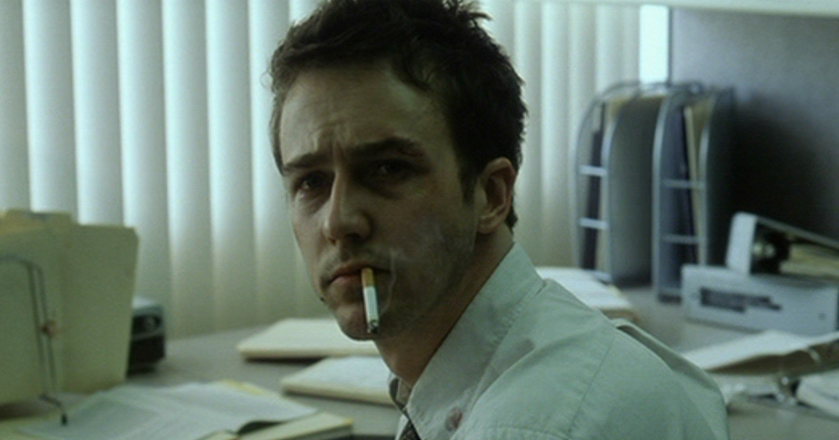 "Wypalony pracą Edward Norton w filmie ""Fight Club"""