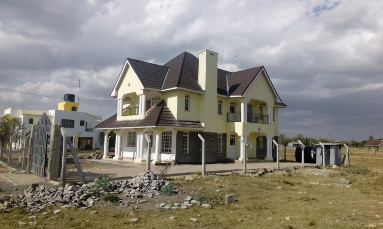A house under construction in Kitengela