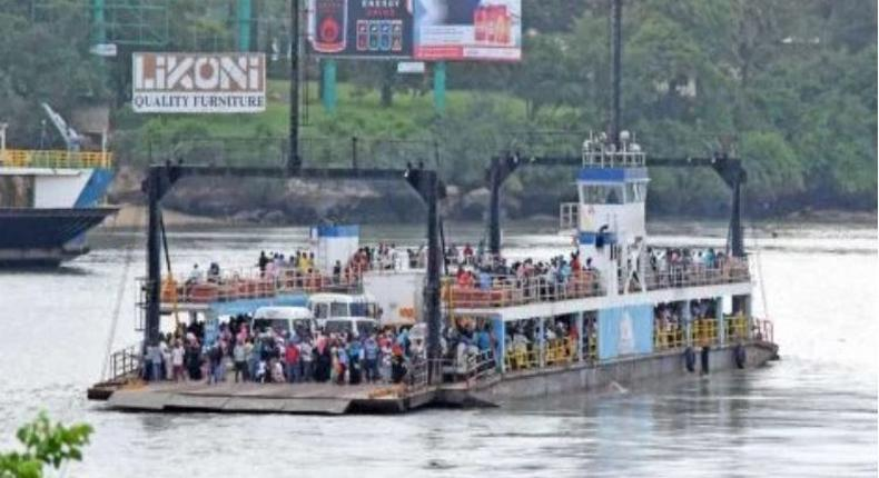 File image of MV Harambee at the Likoni channel