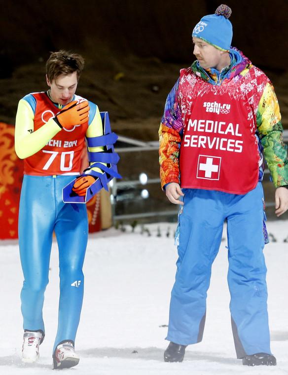 Kamil Stoch po upadku na dużej skoczni w Soczi