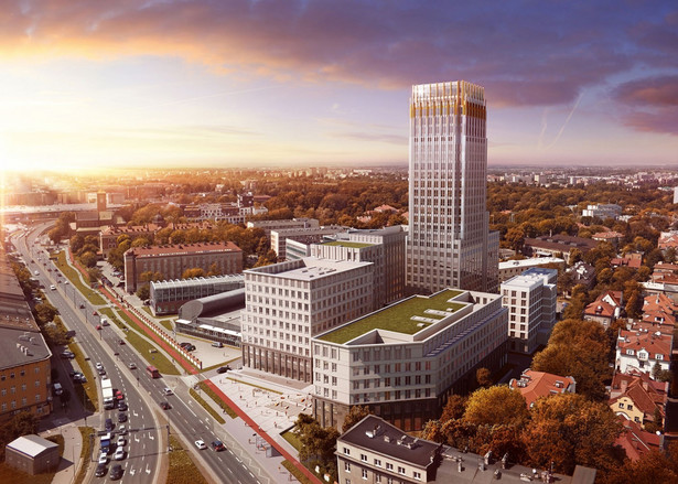 """W kompleksie biurowym Unity Centre powstanie w sumie pięć budynków. W jednym z nich mieścić się będzie pierwszy w Polsce hotel Radisson Red - poinformowali w środę przedstawiciele Radissona oraz spółki Treimorfa Project, która jest właścicielem terenu. """"Budżet całego tego projektu sięga 100 mln euro"""" - mówił dziennikarzom Henryk Gaertner, współzałożyciel GD&K Group, mniejszościowego udziałowca w Treimorfa Project. Inwestycja ma być finansowana z kredytu bankowego udzielonego przez konsorcjum banków. Wizualizacja Unity Tower w Krakowie. Źródło: Materiały prasowe Unity Centre"""