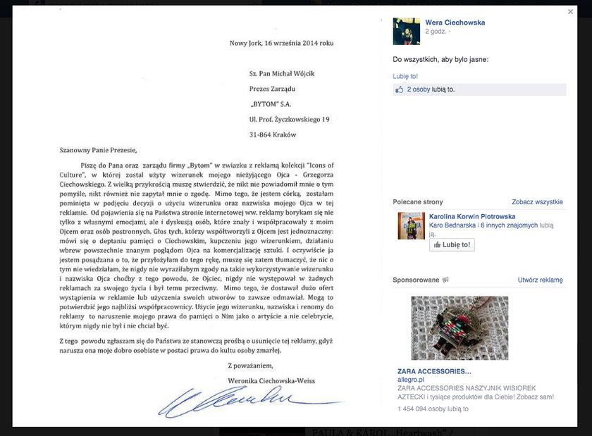 Oświadczenie córki Grzegorza Ciechowskiego