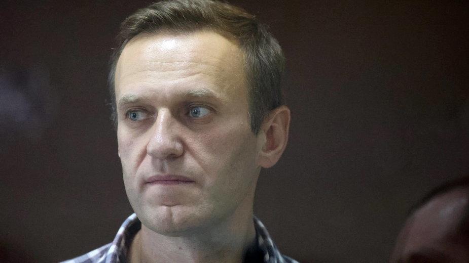 Aleksiej Nawalny podczas procesu (20 lutego 2021 r.)